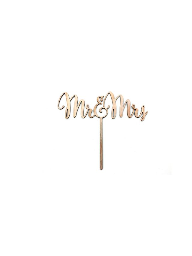 ICreate Wooden Mr and Mrs Cake Topper