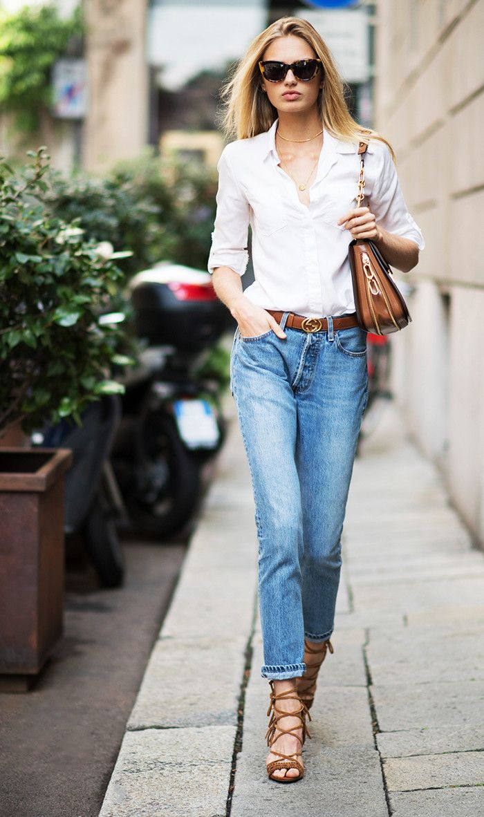d955773ed97 Style Notes  Swap your black Gucci belt for brown like model Romee Strijd  for a more laid-back look.
