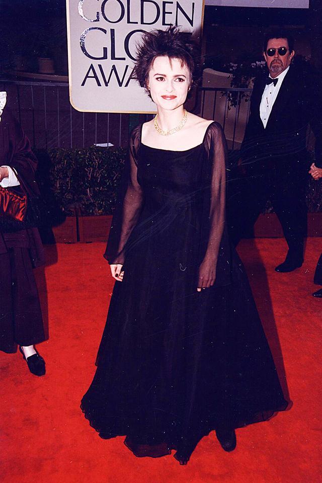 90s fashion: Helen Bonham-Carter wearing sheer black dress