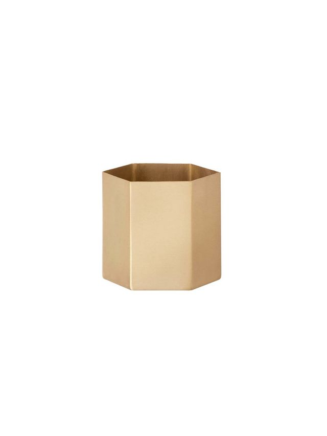 Ferm Living Brass Hexagonal Pot