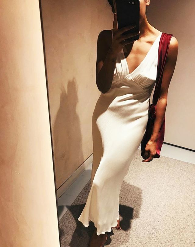 Influencers wearing high street: Ghost satin dress
