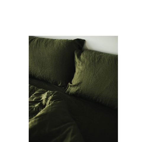 Olive Linen Bedding Set