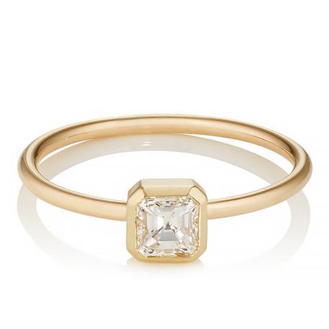 Asscher-Cut White Diamond Ring