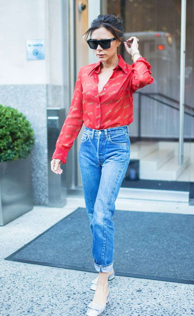 Victoria Beckham jeans and red tiger shirt ab666c308