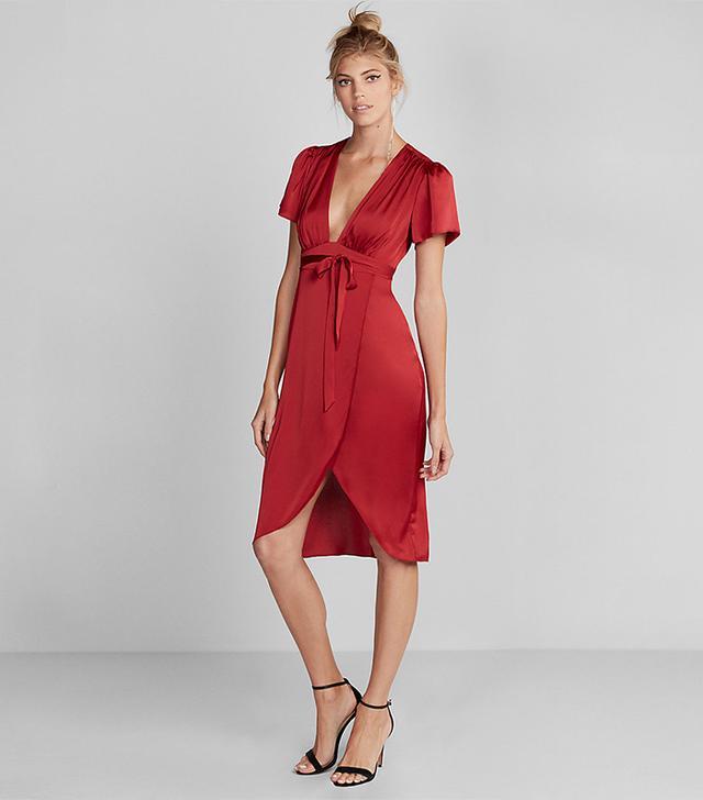Womens Plunge Front Silky Wrap Midi Dress