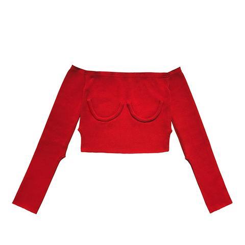 Off Shoulder Knit Red