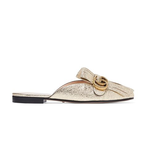 Marmont Metallic Cracked-Leather Slippers