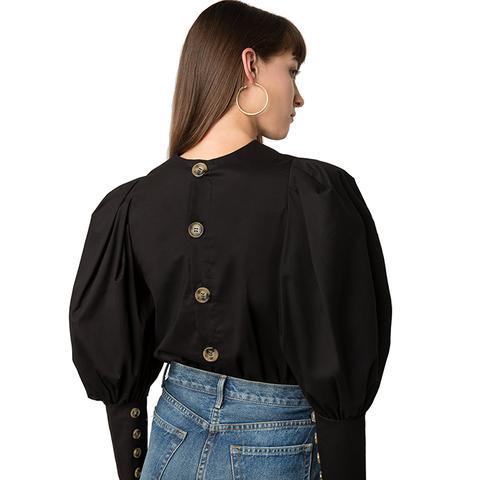 Taylor Black Puffy Sleeve Button Shirt