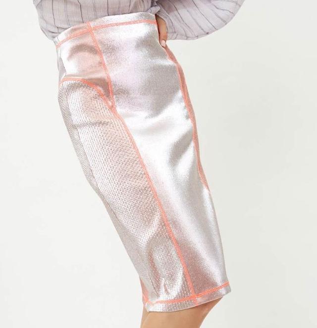 AREA NYC Metallic Lame Pencil Skirt