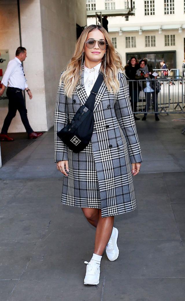 Rita Ora plaid coat street style in Paris