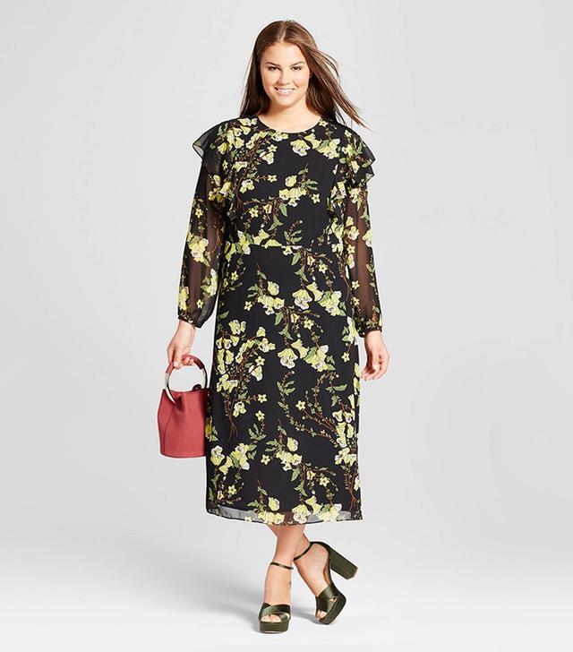 Who What Wear Flutter Shoulder Dress