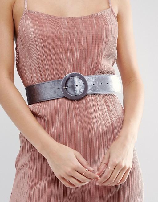 Velvet Covered Buckle Waist Belt