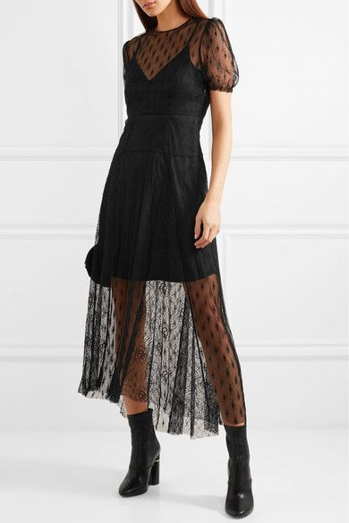 Maje Open-Back Embroidered Lace Midi Dress