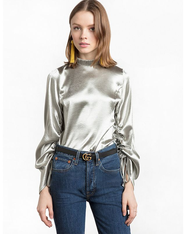 Pixie Market Silver Satin Ruched Sleeve Top