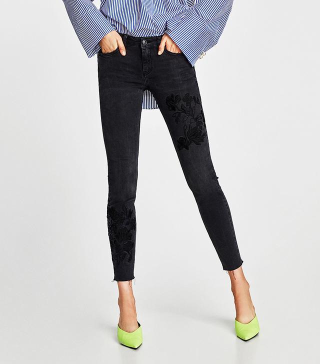 Zara The Skinny Rostov Jeans With Embroidery