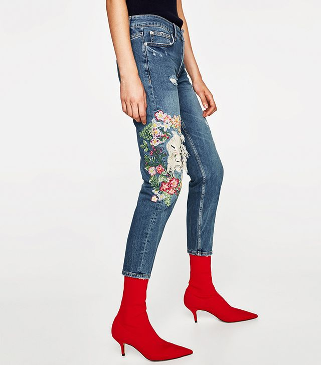 Zara The Slim Moonflower Jeans