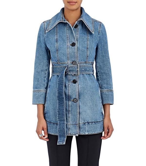 Women's Cotton Denim Belted Jacket