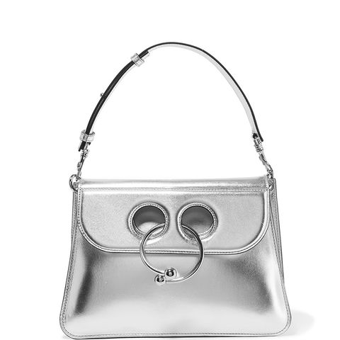 Pierce Medium Metallic Leather Shoulder Bag