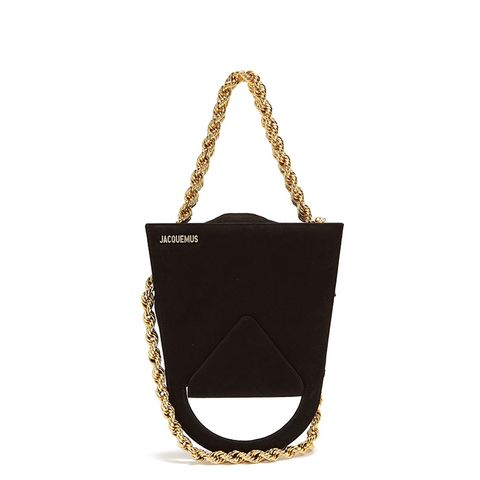 Upside-Down Triple Chain Suede Bag