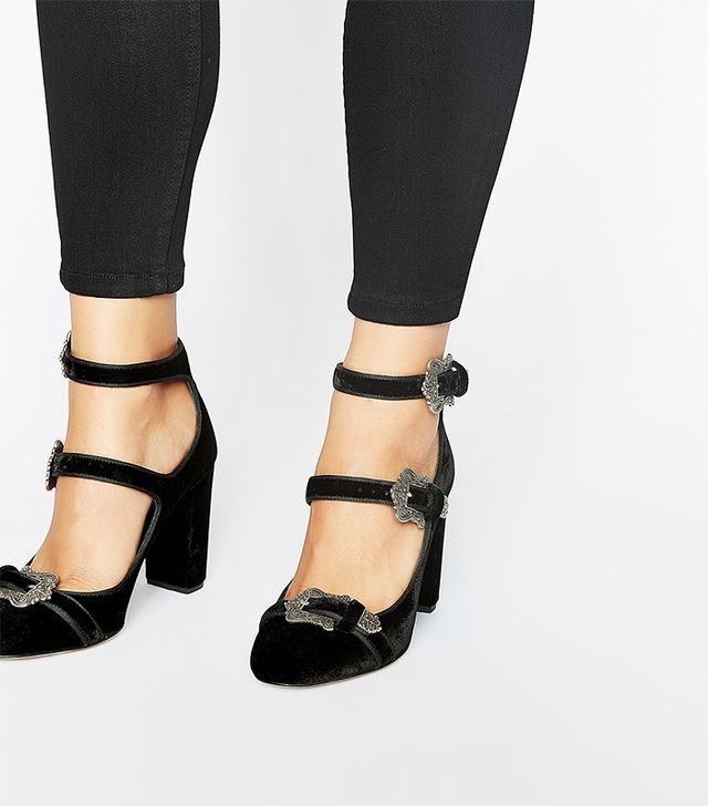 The Kooples Black Velvet T-Strap Pumps