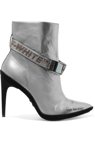 For Walking Buckled Metallic Leather And Suede Ankle Boots