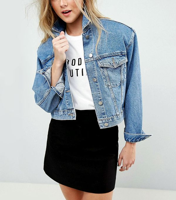 Denim Jacket in Midwash Blue With Detachable Shoulder Pads
