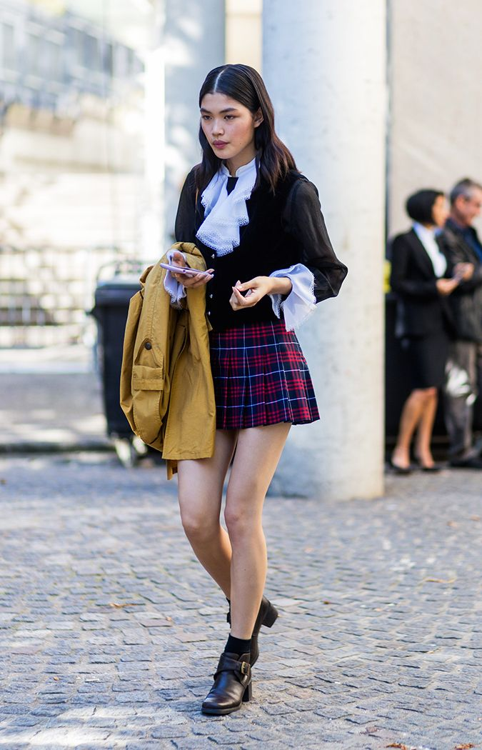 df2c131808 Plaid Miniskirt + Ruffled Blouse + Harness Boots. Pinterest