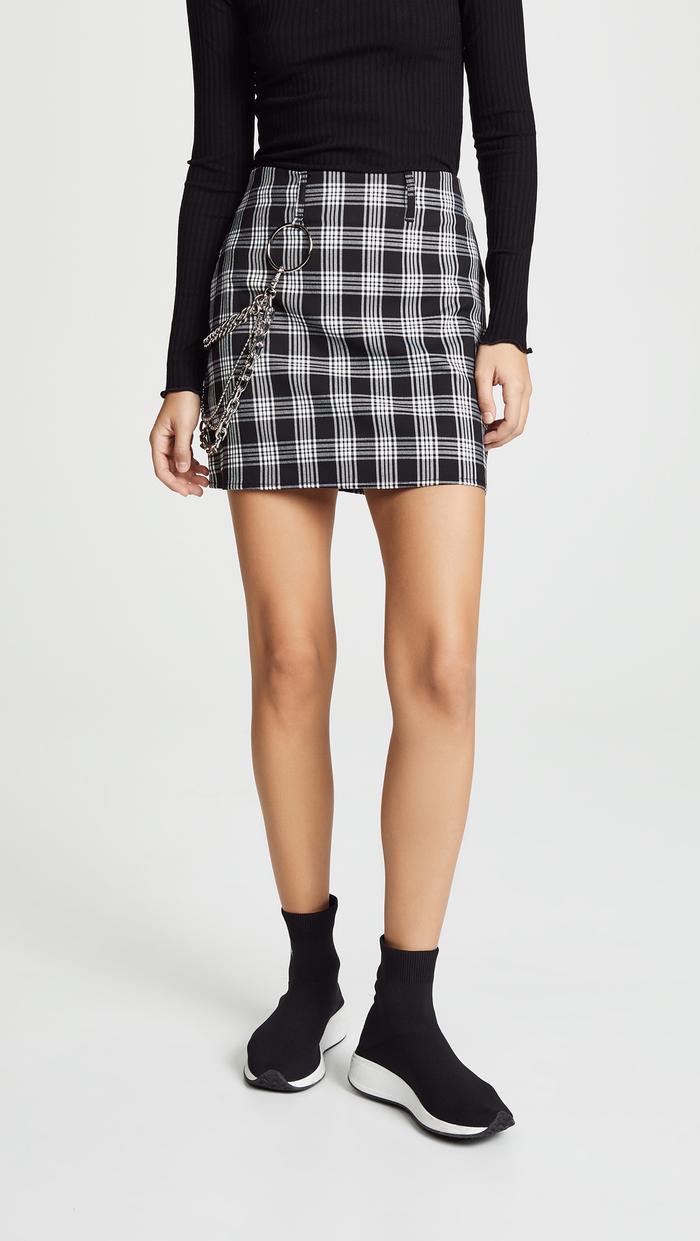 d544550e94 Zara Sparkly Plaid Mini Skirt ($36). Style this with an oversize blazer.  Pinterest