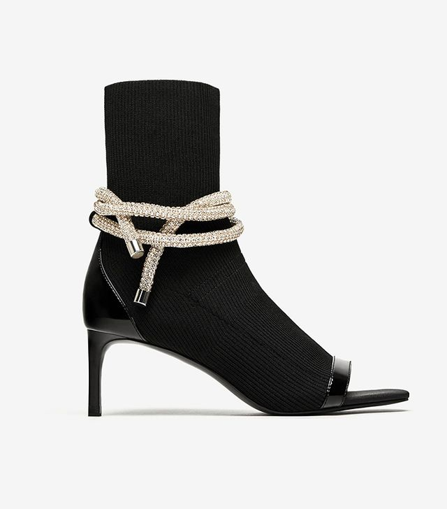 Zara High Heel Ankle Boots With Opening and Cord