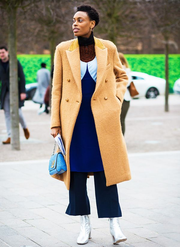 Camel street style outfit; camel coat
