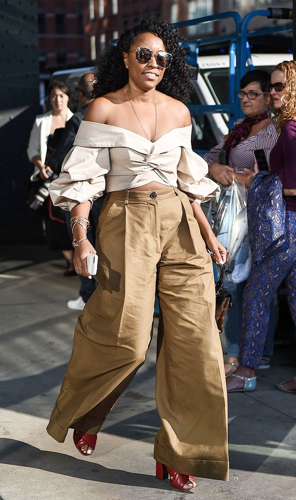 off-the-shoulder top; street style