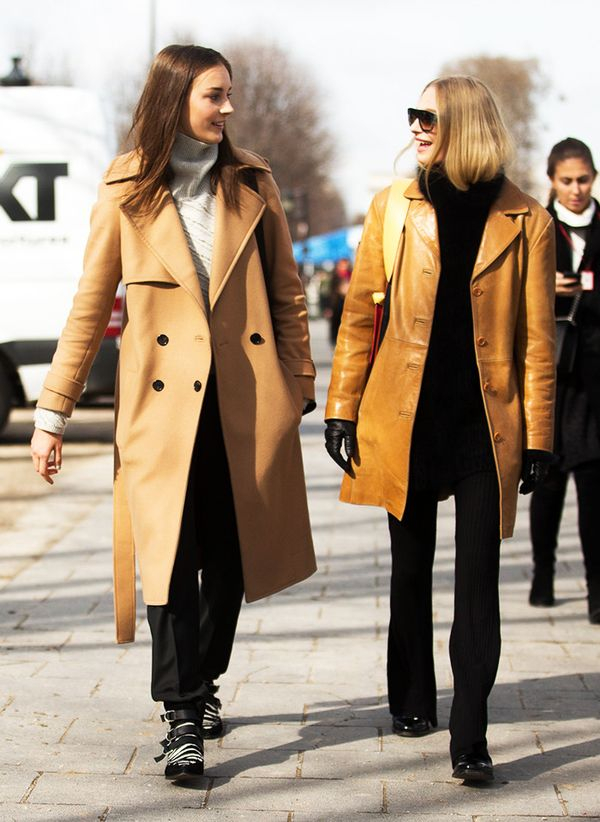 street style outfit; camel coats