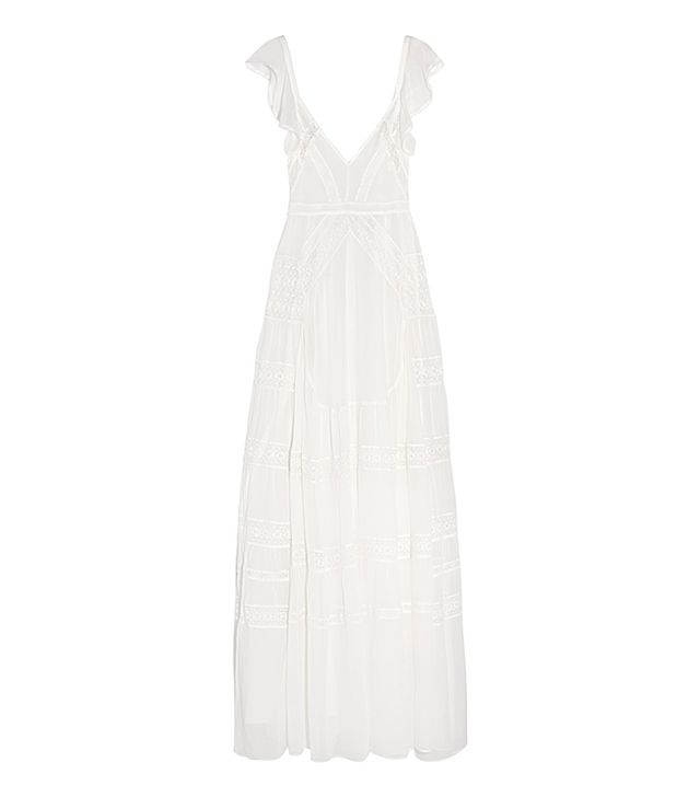 Bridal Lace-paneled Silk-crepe Gown