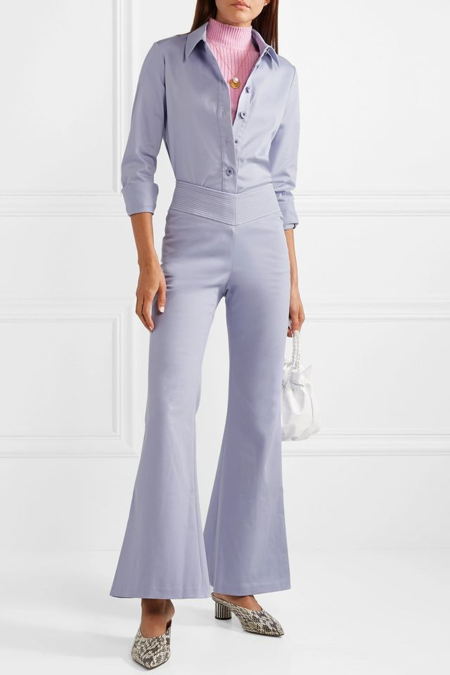 Cher Stretch-cotton Flared Pants