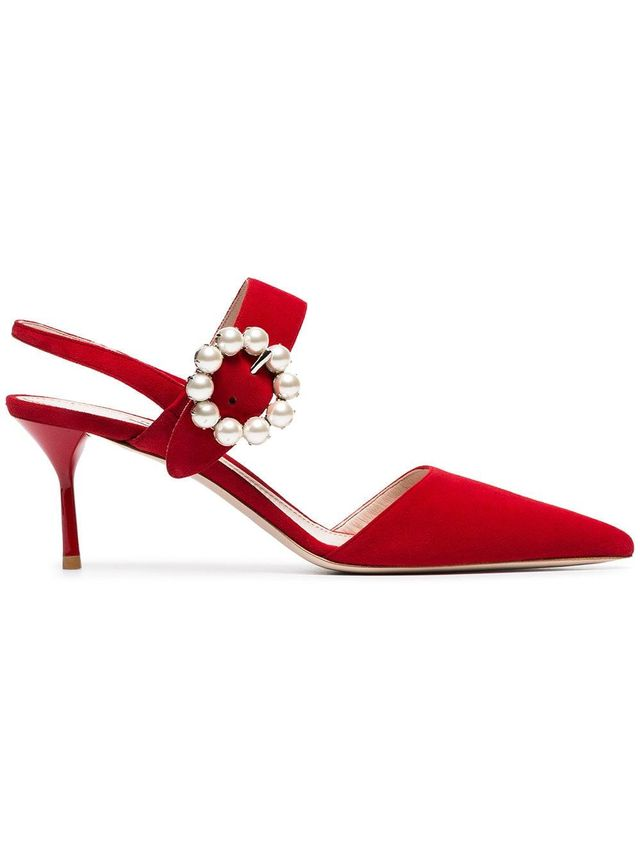 red pearl embellished 65 suede leather mules