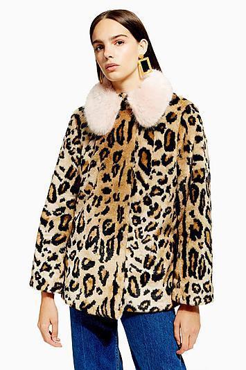 Petite Leopard Faux Fur Coat
