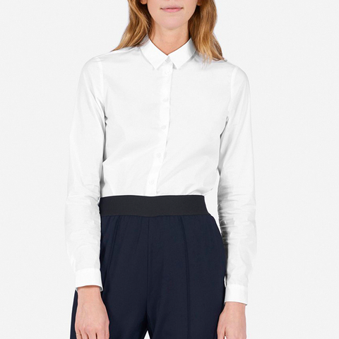 Slim Stretch Poplin Shirt in White