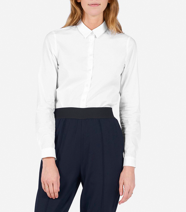 Women's Slim Stretch Poplin Shirt by Everlane in White, Size 8