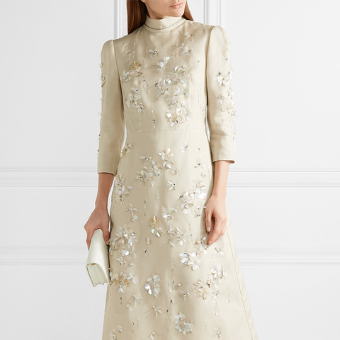 Embellished Silk-Gazar Midi Dress