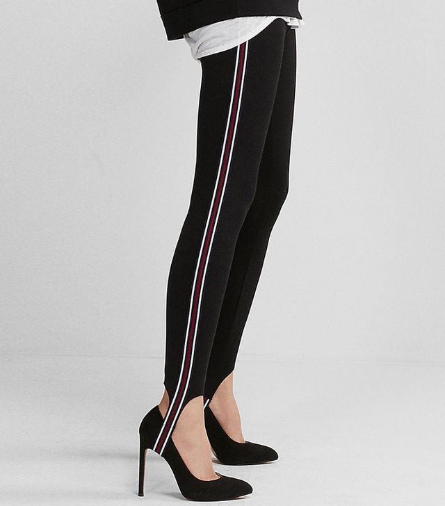 Womens Striped Stirrup Pull-On Leggings