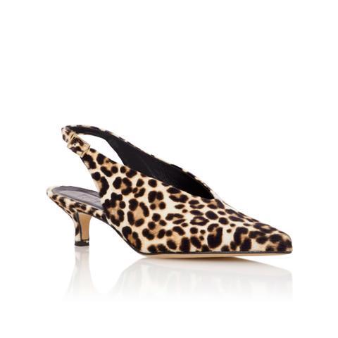 Lia Leopard-Print Calf Hair Slingback Pumps