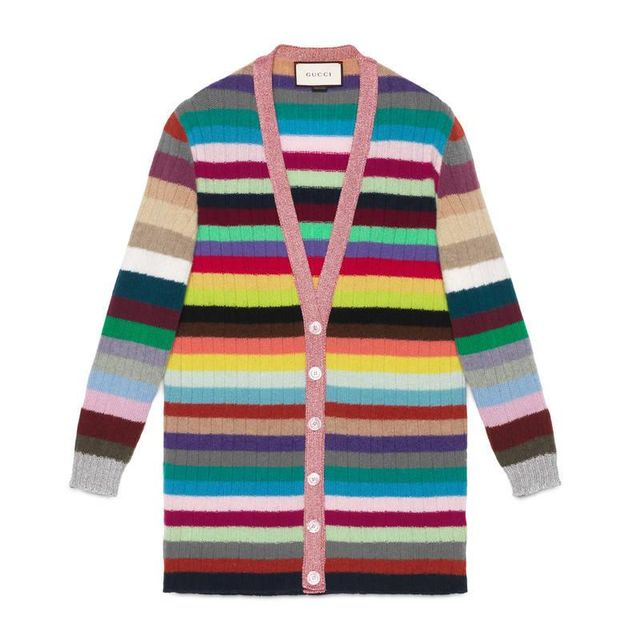 Oversize striped cashmere knitted