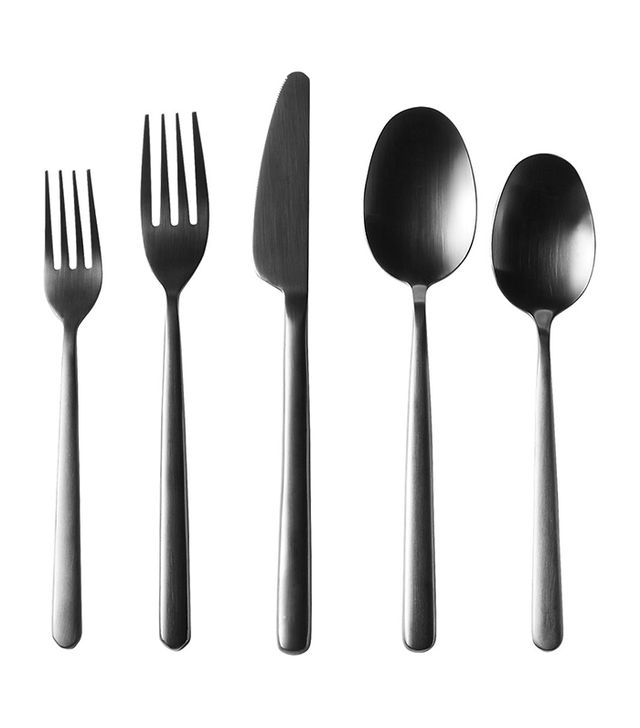 20-piece allegra brushed black flatware set
