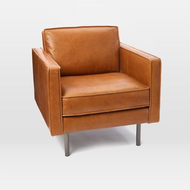 Midcentury Show Wood Leather Chair
