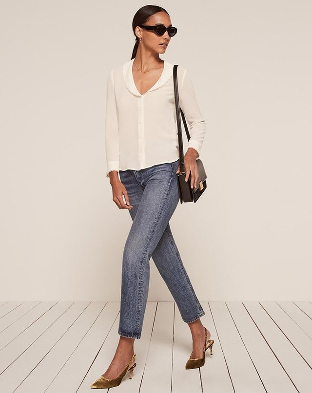 Reformation Betsy Top in Ivory