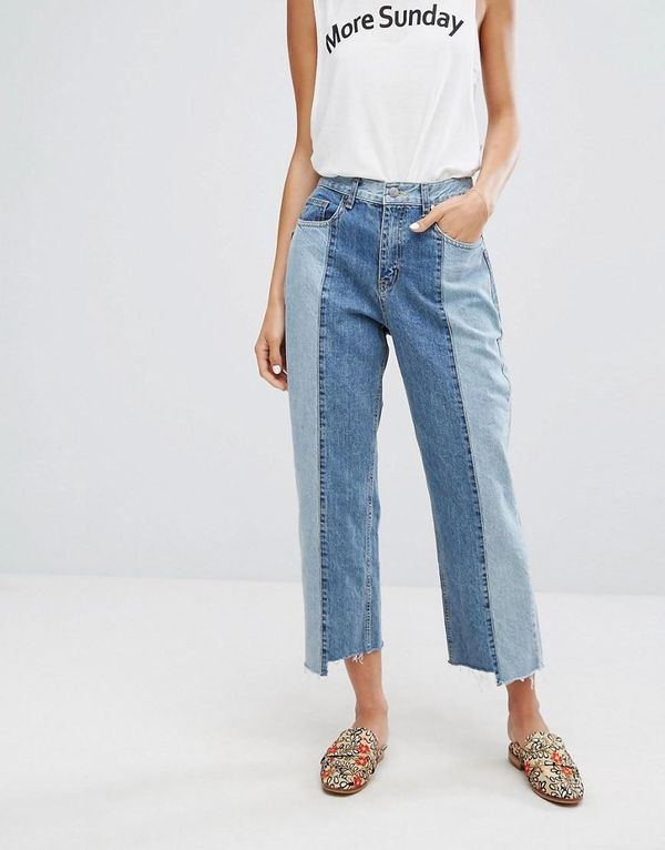 EVIDNT Two Tone Crop Mom Jeans with Uneven Hem