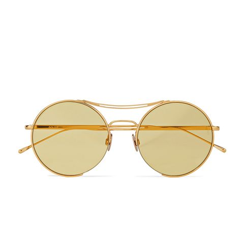 Goldie Round-Frame Gold-Tone Sunglasses