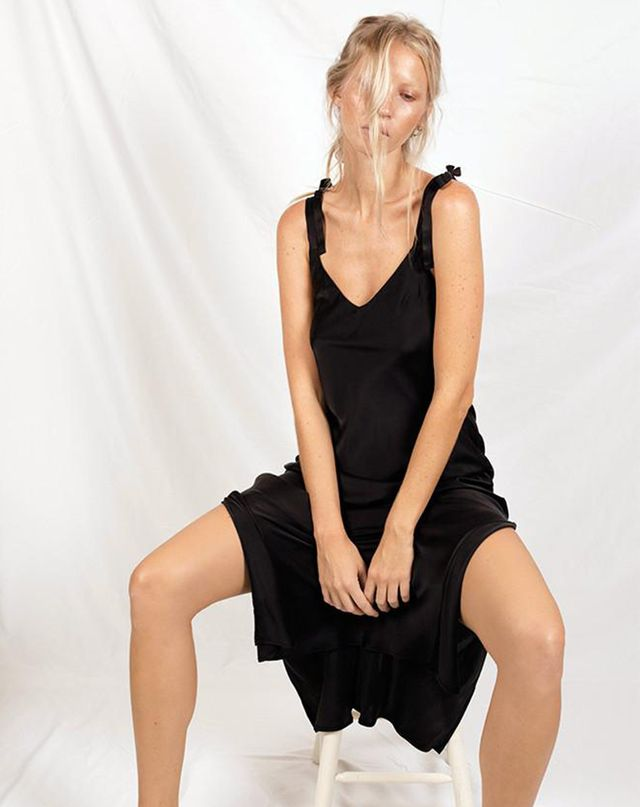 What to Wear When the Wedding Dress Code Is Cocktail Silk Laundry Tie Shoulder Slip Dress Black