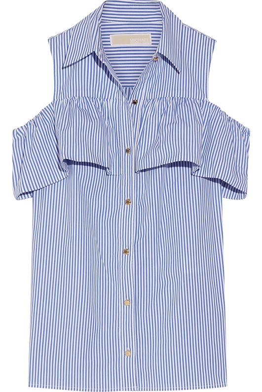 Cold-shoulder Striped Stretch-cotton Blouse