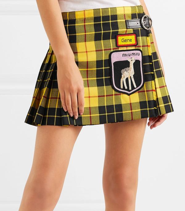 Appliquéd Tartan Wool Mini Skirt